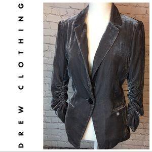 DREW Gray Velvet Rouched Sleeve Blazer